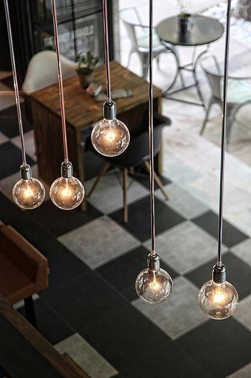 108 Best Cafés & Restaurants – Vintage Industrial Style Images On For Industrial Bare Bulb Pendant Lights (#1 of 15)