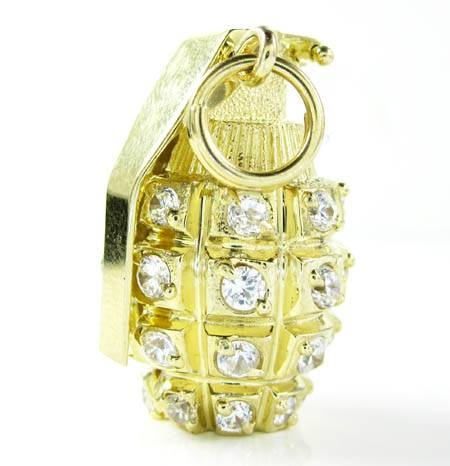 Inspiration about 10K Gold Grenade Cz Pendant Throughout Recent Grenade Pendants (#2 of 15)