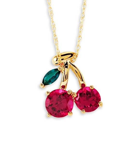 Inspiration about 10K Yellow Gold Emerald Ruby Cherries Pendant Necklace – Pendants Intended For Most Recent Cherry Pendants (#7 of 15)