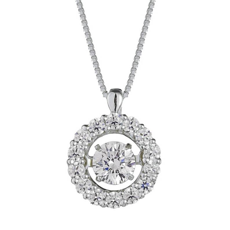 Inspiration about 14K White Gold Halo Dancing Diamond Necklace Within Most Popular Dancing Pendants (#14 of 15)