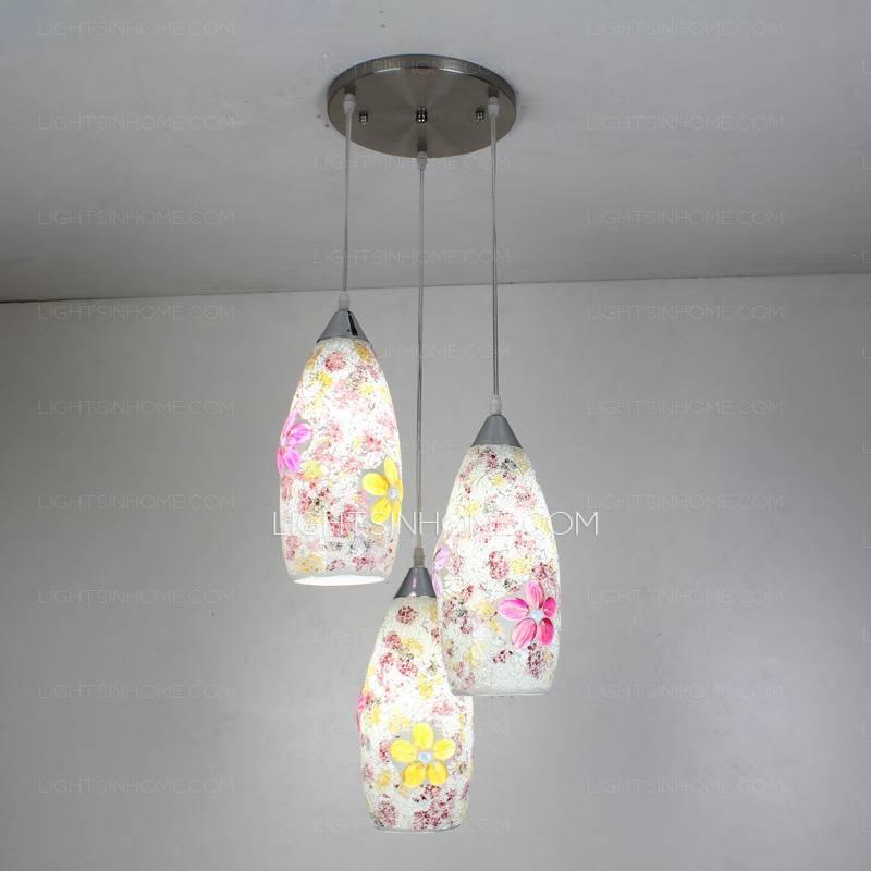 3 Light Beautiful Glass Lamp Shades For Pendant Lights For 2018 Glass Pendant Lights Shades (#2 of 15)