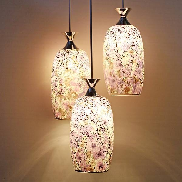3 Light Purple Mosaic Glass Pendant Ceiling Light At Lighthotdeal Throughout Current Mosaic Pendant Lights (#2 of 15)