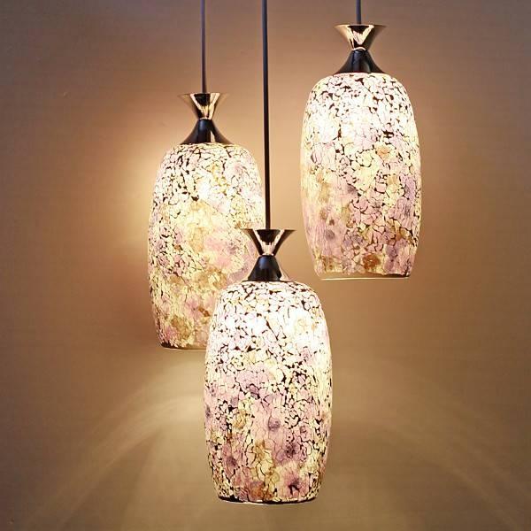 3 Light Purple Mosaic Glass Pendant Ceiling Light At Lighthotdeal Throughout Current Mosaic Pendant Lights (#2 of 15)