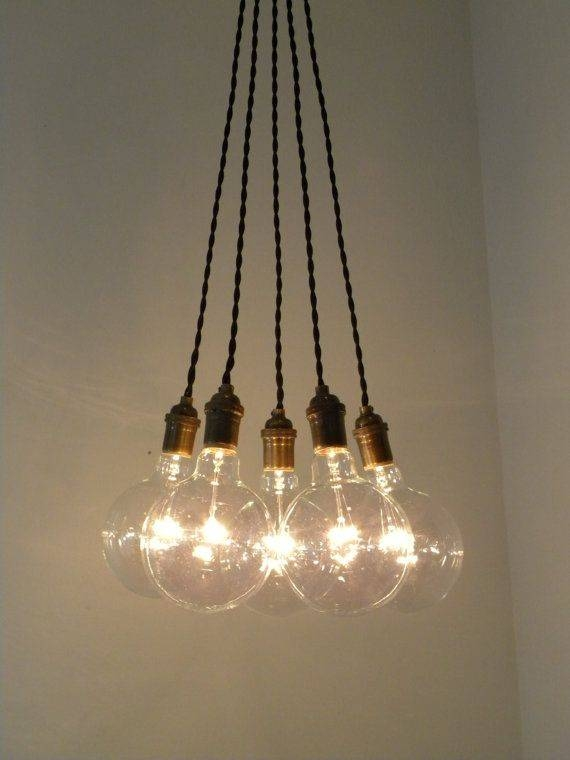 Inspiration about 5 Lights Mini Cluster Chandelier Hanging Pendant Light With Pertaining To Most Recent Multi Bulb Pendant Lights (#4 of 15)