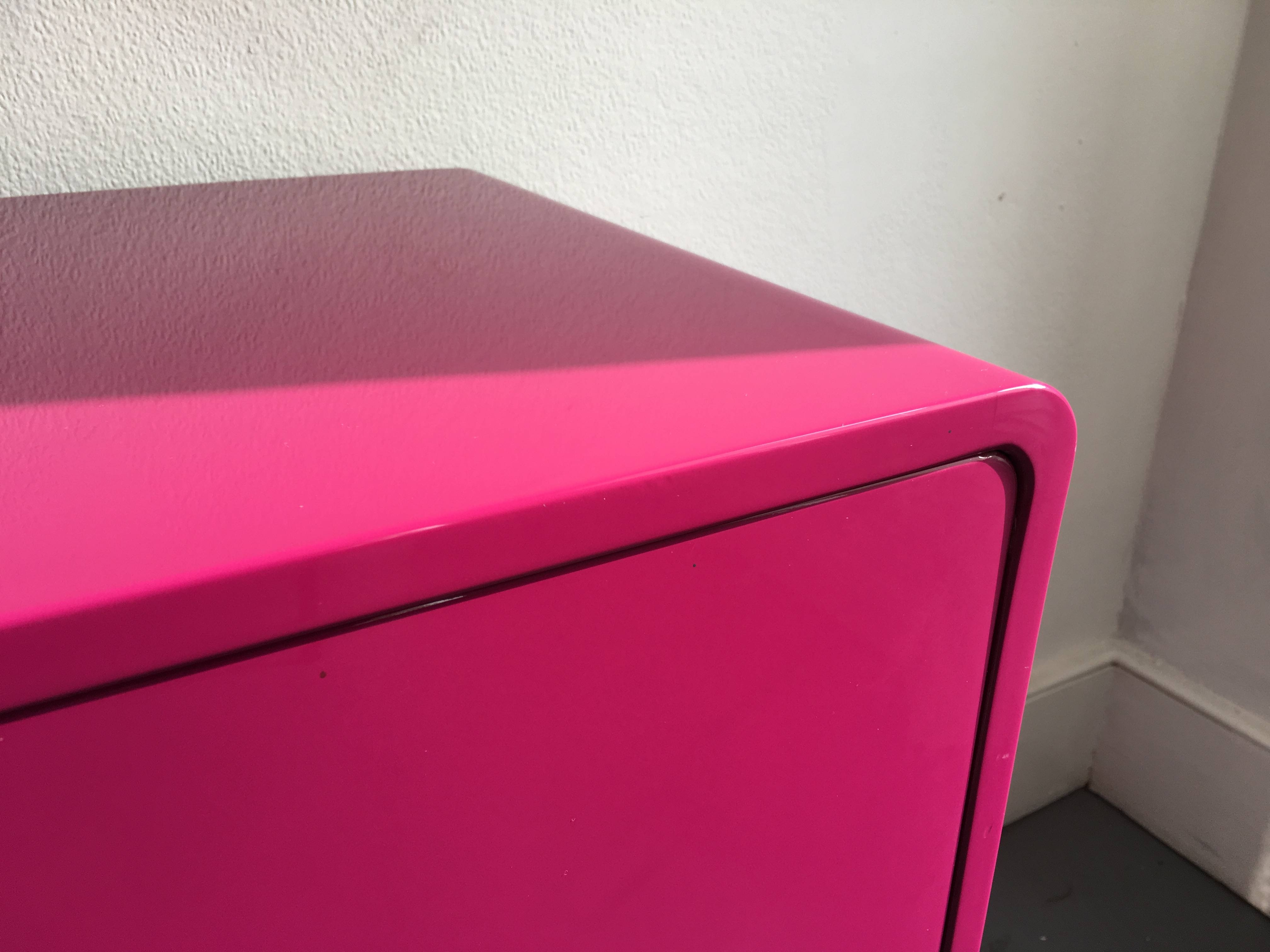 Inspiration about 60's Inspired High Gloss Lacquered Sideboard In Hot Pink And Red Regarding Red High Gloss Sideboards (#14 of 15)