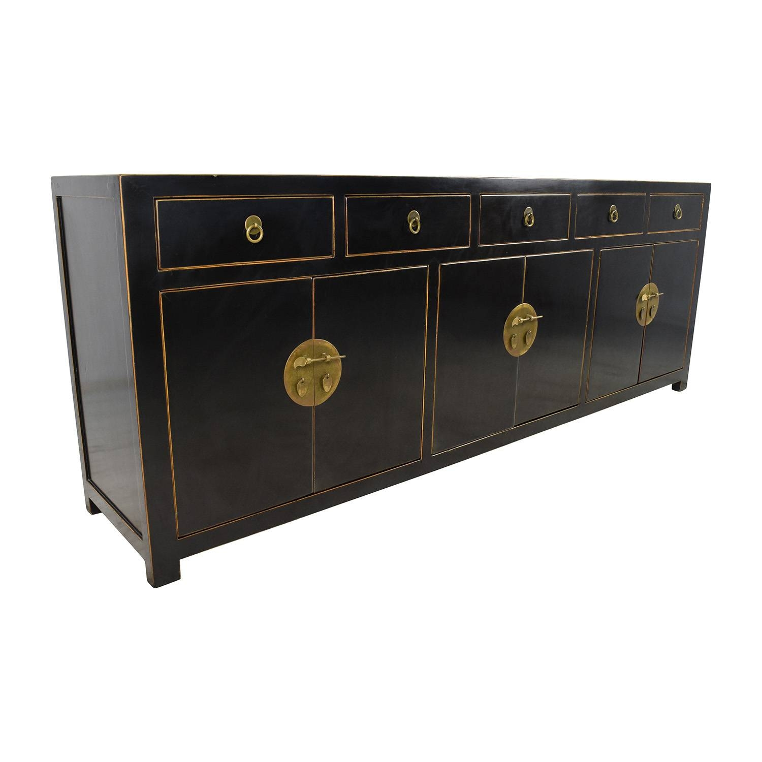 85% Off – Custom Made Black Drawer And Cabinet Sideboard / Storage Pertaining To Sideboards And Cabinets (View 13 of 15)