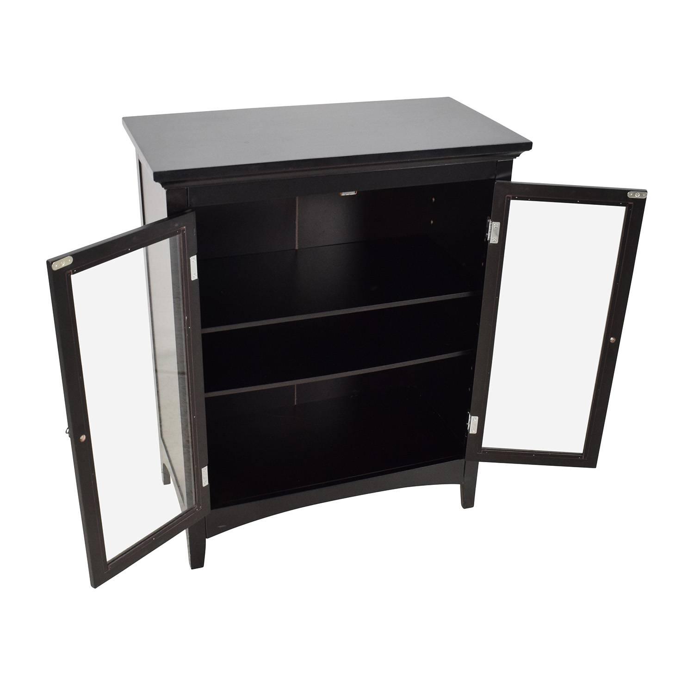 89% Off – Dark Brown Glass Door Cabinet / Storage In Dark Brown Sideboards (#5 of 15)