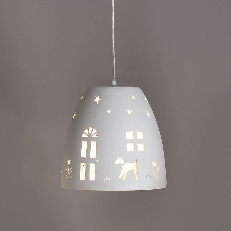 "Inspiration about 9.5"" Home Sweet Home Ceramic Pendant Light – Traditional Ceramic Pertaining To Most Current Childrens Pendant Lights (#1 of 15)"