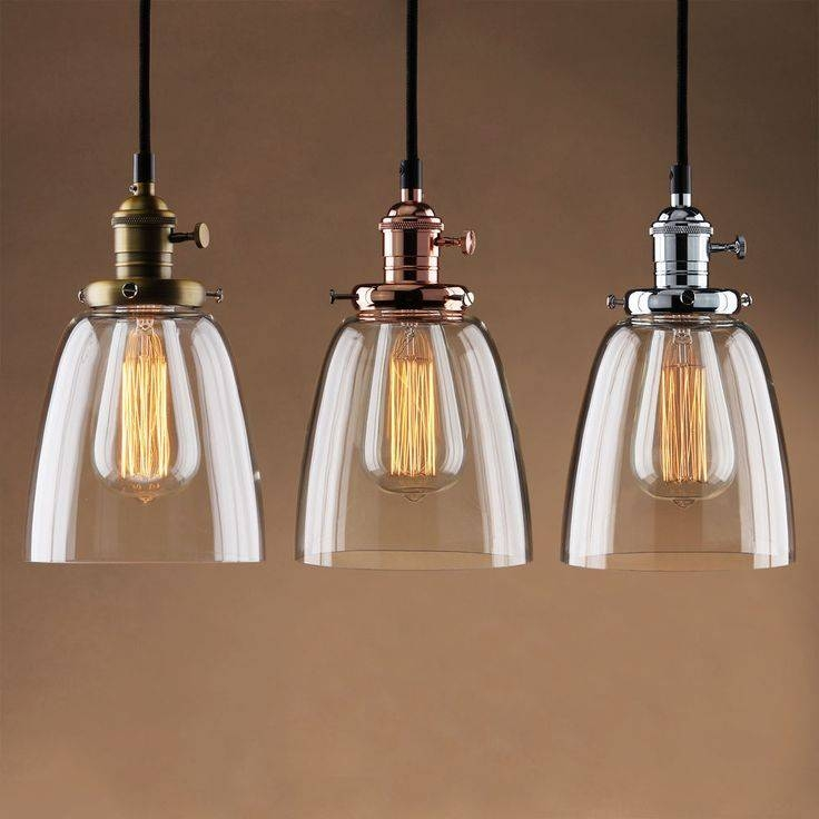 Adjustable Vintage Industrial Pendant Lamp Cafe Glass Brass Chrome Pertaining To 2018 Glass Pendant Lights Uk (#1 of 15)
