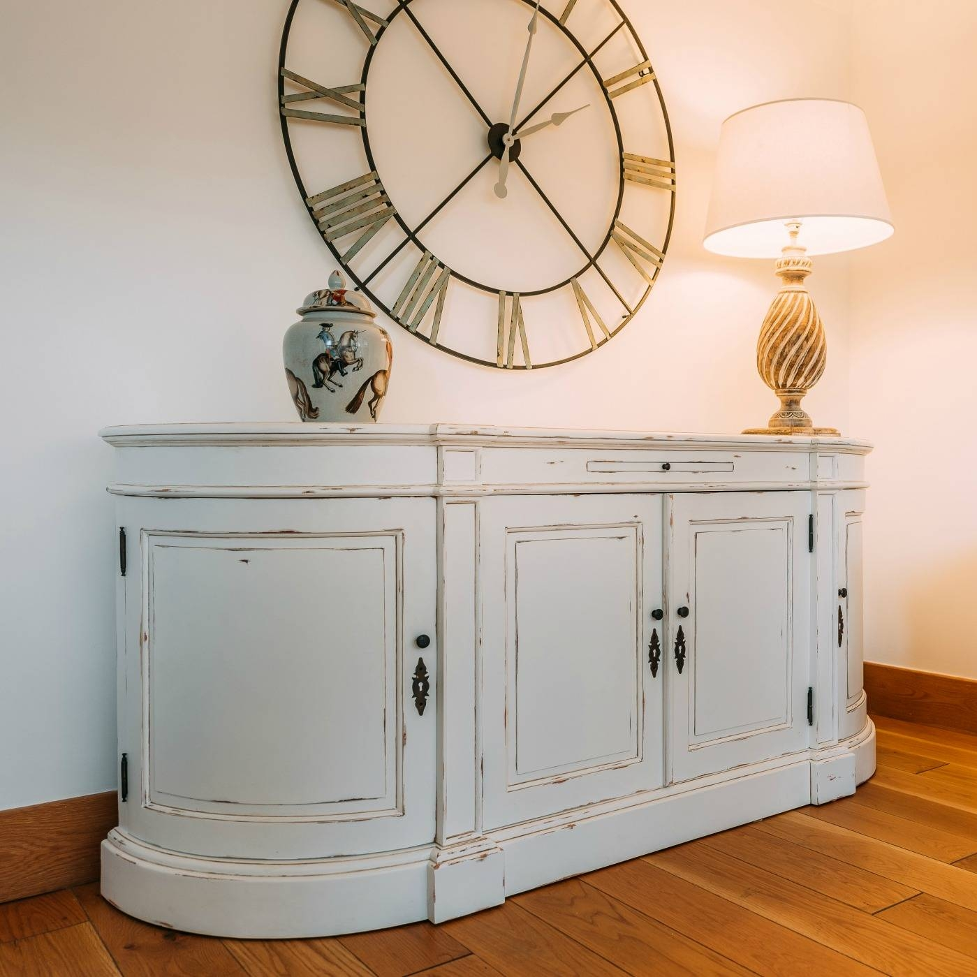 Aged French Distressed White Large Sideboard Furniture – La Maison Within Large White Sideboards (#1 of 15)