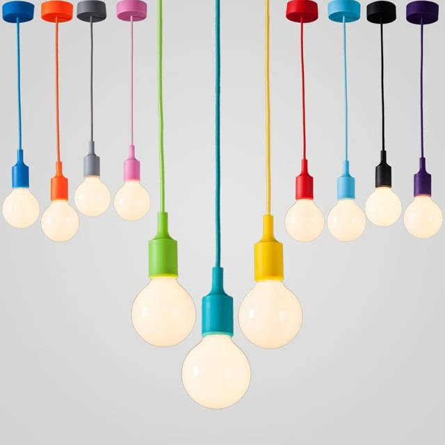 Aliexpress : Buy High Quality Colorful E27 Modern Socket Led Inside Most Popular E27 Pendant (#2 of 15)