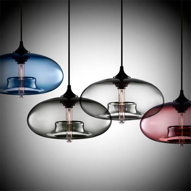 Aliexpress : Buy Modern Luxury Round Color Glass Pendant Intended For Newest Modern Glass Pendant Lights (#2 of 15)