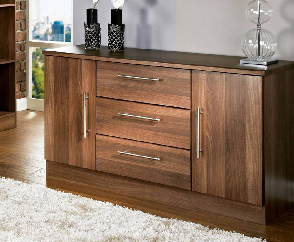 Alora Walnut 2 Door 3 Drawer Sideboards For Walnut And Black Sideboards (#1 of 15)