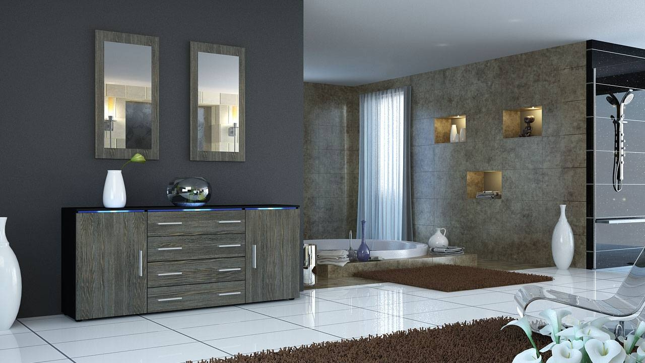 Amazing Xelo Light Grey Oak Sideboard Design Featuring Glass Store With Grey Gloss Sideboards (#1 of 15)