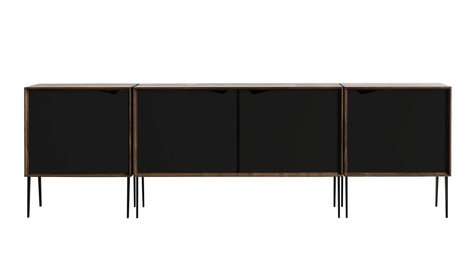 Andersen S2 Walnut / Black Sideboard | Dopo Domani Inside Black And Walnut Sideboards (#2 of 15)