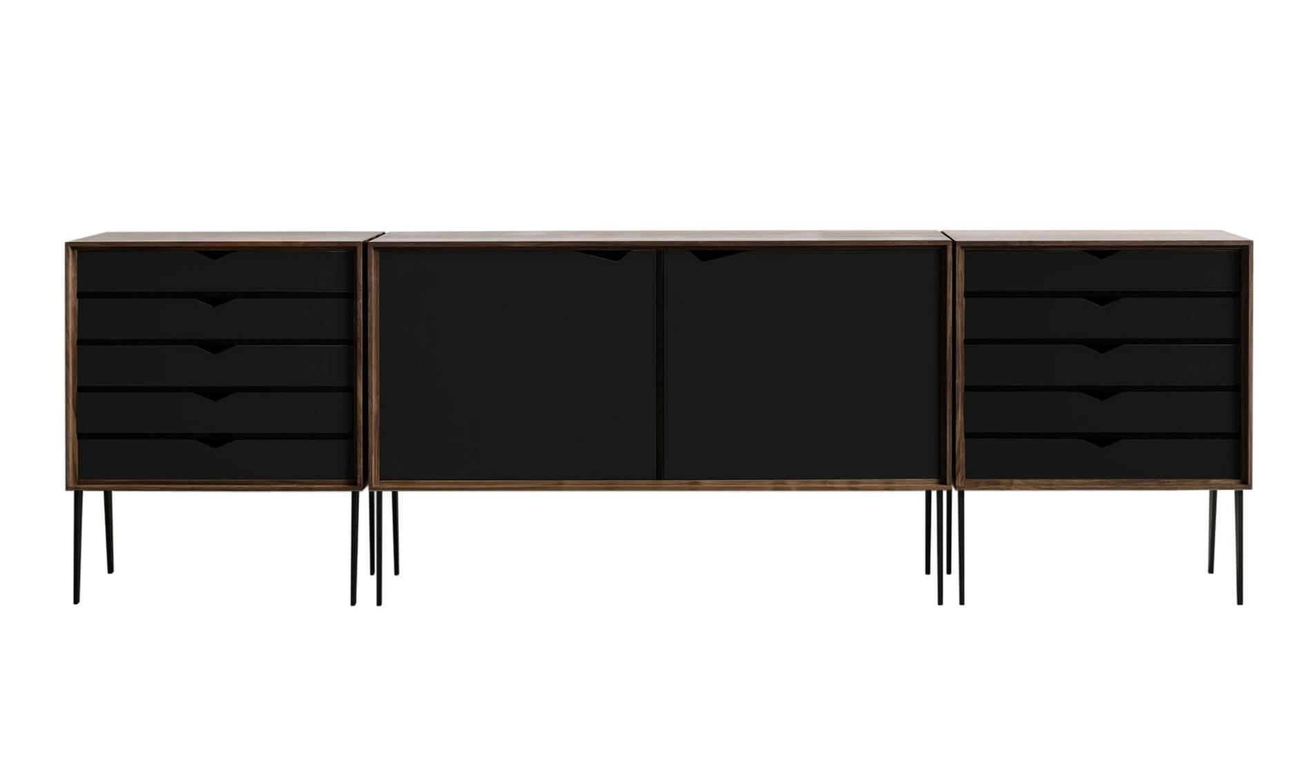 Andersen S2 Walnut / Black Sideboard | Dopo Domani Regarding Black And Walnut Sideboards (#3 of 15)