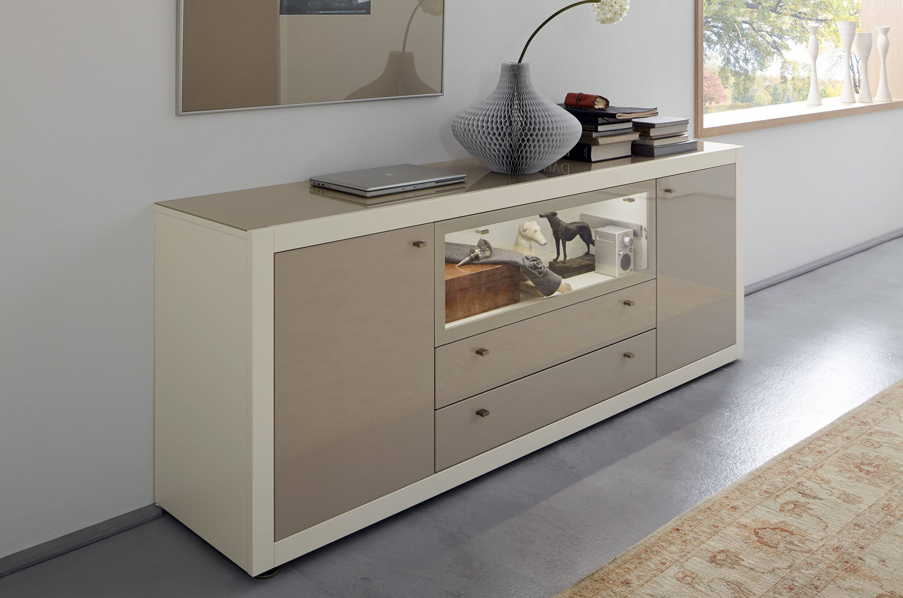 Antique Grey Oak Sideboard Design Featuring Cabinet And Drawers Regarding Glass Top Sideboards (#1 of 15)