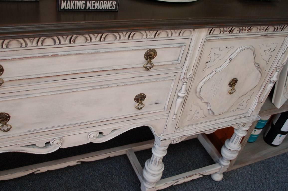 Antique Sideboard | Fabulously Finished With White Distressed Finish Sideboards (#2 of 15)
