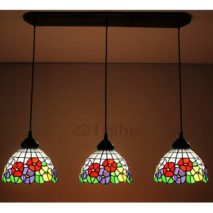 Beautiful Floral Stained Glass Downlight Multi Tiffany Pendant Lights Within Most Popular Tiffany Pendant Lights (View 10 of 15)
