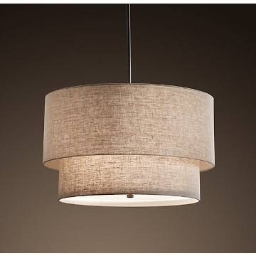 Beautiful Two Tier Round Fabric Lamp Pendant Lighting With Ce With Most Up To Date Fabric Pendant Lighting (#1 of 15)