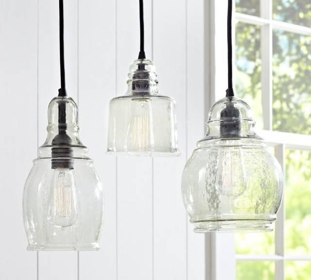 Best Glass Pendant Lights Glass Pendant Lighting Pottery Barn In Within Glass 8 Light Pendants (#4 of 15)