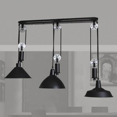 Black 3 Light Pulley Large Pendant Light – Beautifulhalo Pertaining To Adjustable Pulley Pendant Lights (View 15 of 16)