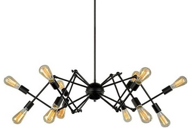 Black Industrial Spider Chandelier Pendant Lamp Light – Industrial Pertaining To Most Recently Released Spider Pendant Lights (View 8 of 15)