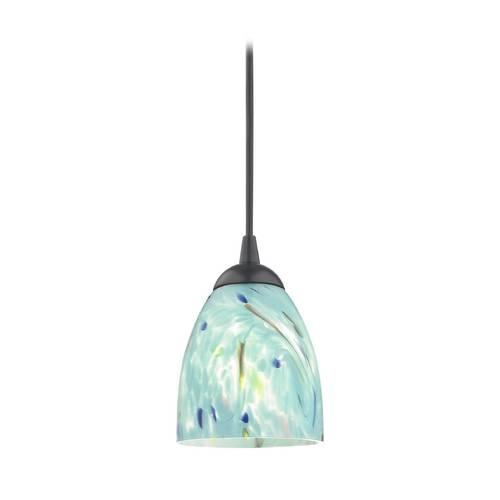 Black Mini Pendant Light With Turquoise Art Glass Shade | 582 07 For Aqua Pendant Light Fixtures (View 8 of 15)