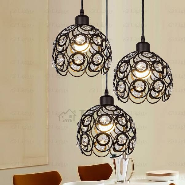 Black Wrought Iron And Crystal Three Light Modern Multi Pendant Lights In Wrought Iron Pendant Lights (View 13 of 15)