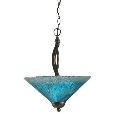 Blue – Center Bowl – Pendant Lights – Hanging Lights – The Home Depot In Most Current Glass Bowl Pendant Lights (#3 of 15)