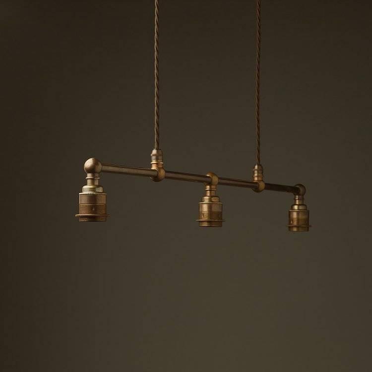 Brass Edison Billiard Table Pendant Pertaining To Three Light Bare Bulb Pendants (View 8 of 15)