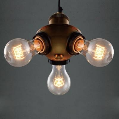 Bronze Bare Bulb 3 Light Cluster Chandelier – Beautifulhalo In Bare Bulb Cluster Pendants (View 8 of 15)