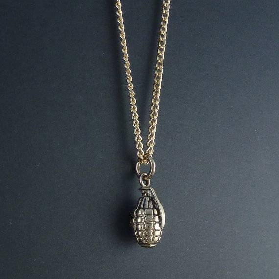 """Bronze Hand Grenade Pendant On 24"""" Gold Plated Chain – Pinktiger With Regard To Most Popular Grenade Pendants (#5 of 15)"""