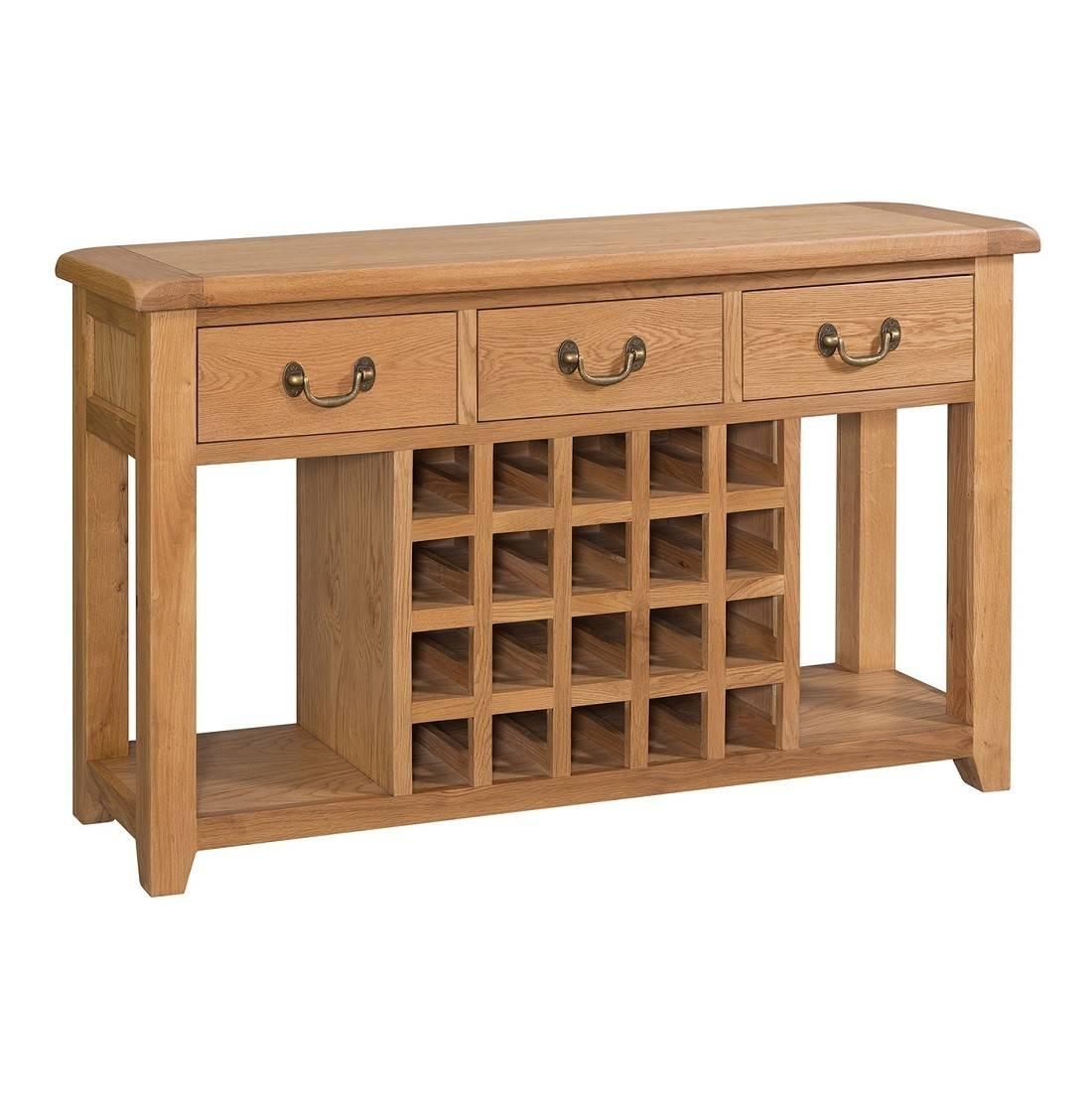 Buttermere Light Oak Open Sideboard With Wine Rack | Oak Furniture Uk Throughout Oak Sideboards With Wine Rack (#1 of 15)