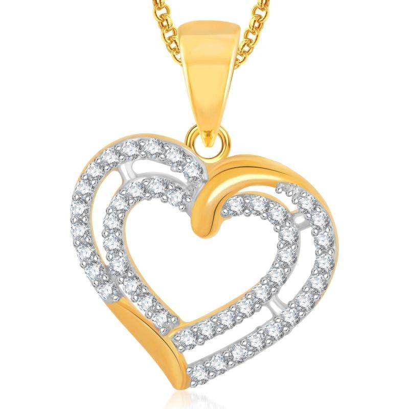 Buy Meenaz Valentine Love Heart Pendant With Chain For Gifts Throughout Most Current Valentine Pendants (#9 of 15)