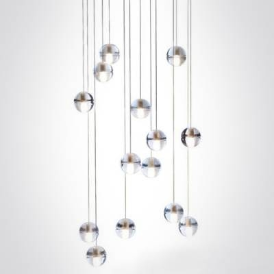 Cascade Glass Ball Pendant Light 14 Light – Beautifulhalo Inside 2018 Ball Pendant Lamps (#4 of 15)