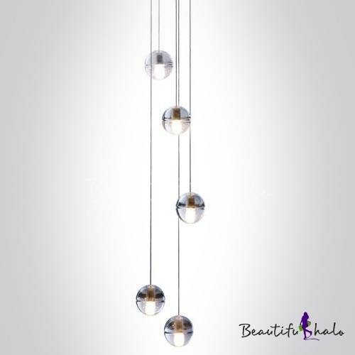 Cascade Glass Ball Pendant Light 5 Light – Beautifulhalo Throughout Most Up To Date Long Pendant Lighting (#4 of 15)