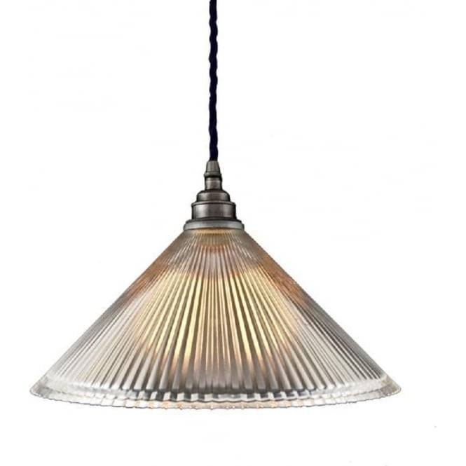 Ceiling Pendant Light With Coolie Ribbed Glass Shade On Braided Cable With Regard To Most Up To Date Glass Pendant Lights Uk (#11 of 15)
