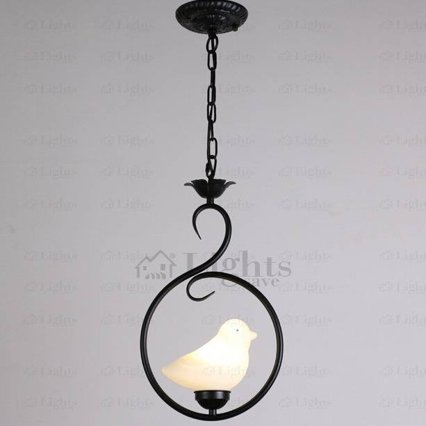 Ceramic Bird Shade Black Wrought Iron Pendant Lights Intended For Wrought Iron Pendant Lights (View 7 of 15)