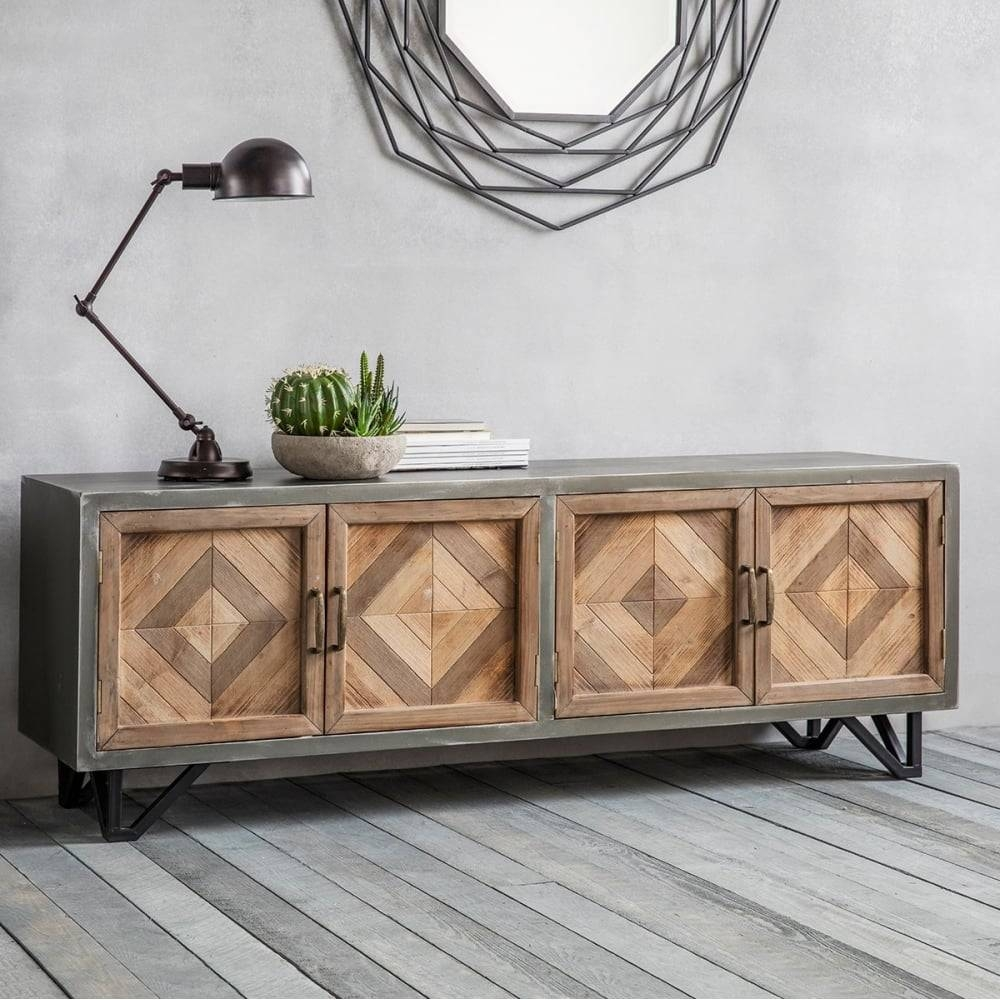 Inspiration about Chevron Industrial Sideboard Metal & Oak | Sideboards & Buffets With Metal Sideboard Furniture (#4 of 15)