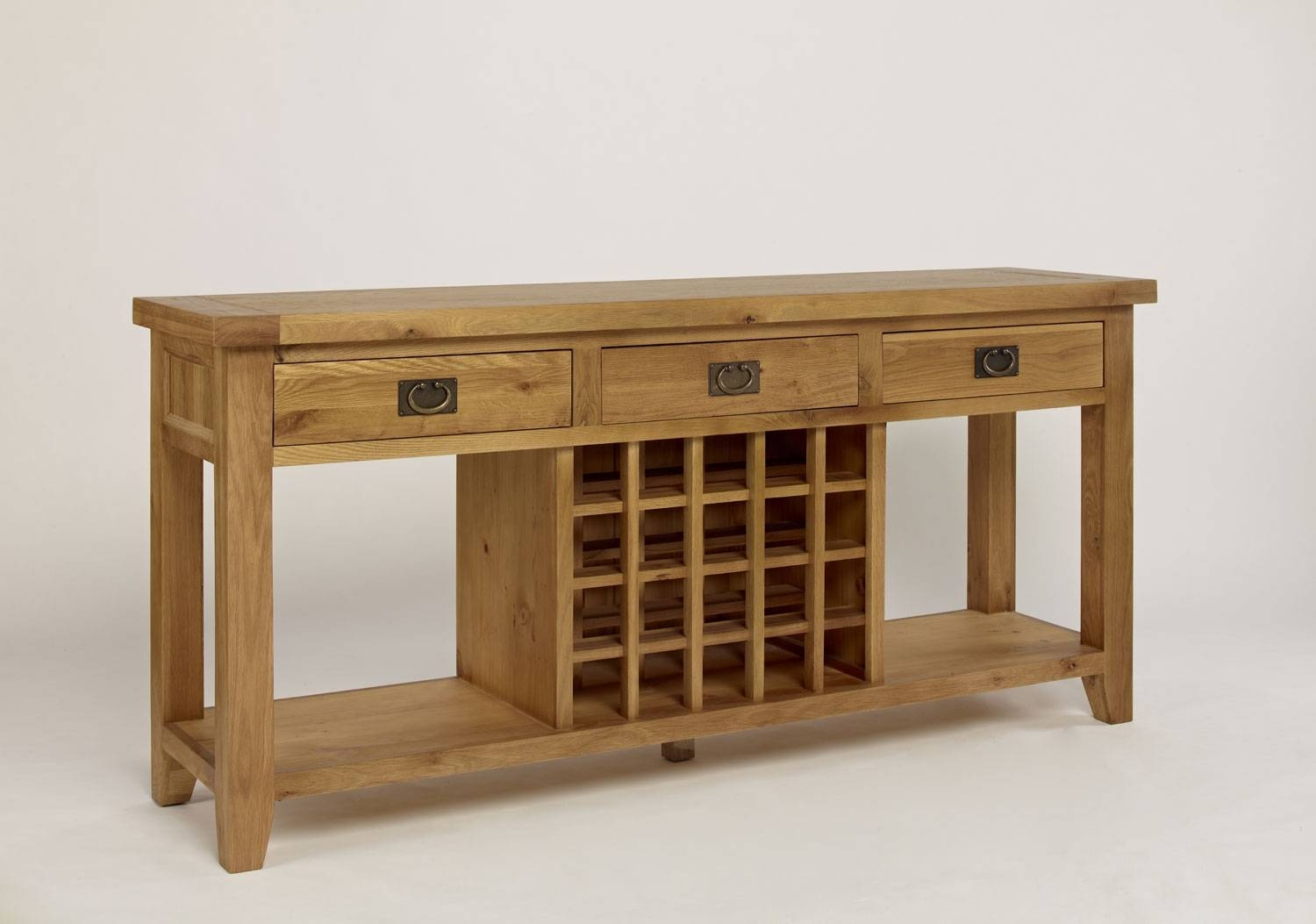 Chiltern Grand Oak 3 Drawer Wine Console Table Within Oak Sideboards With Wine Rack (#2 of 15)