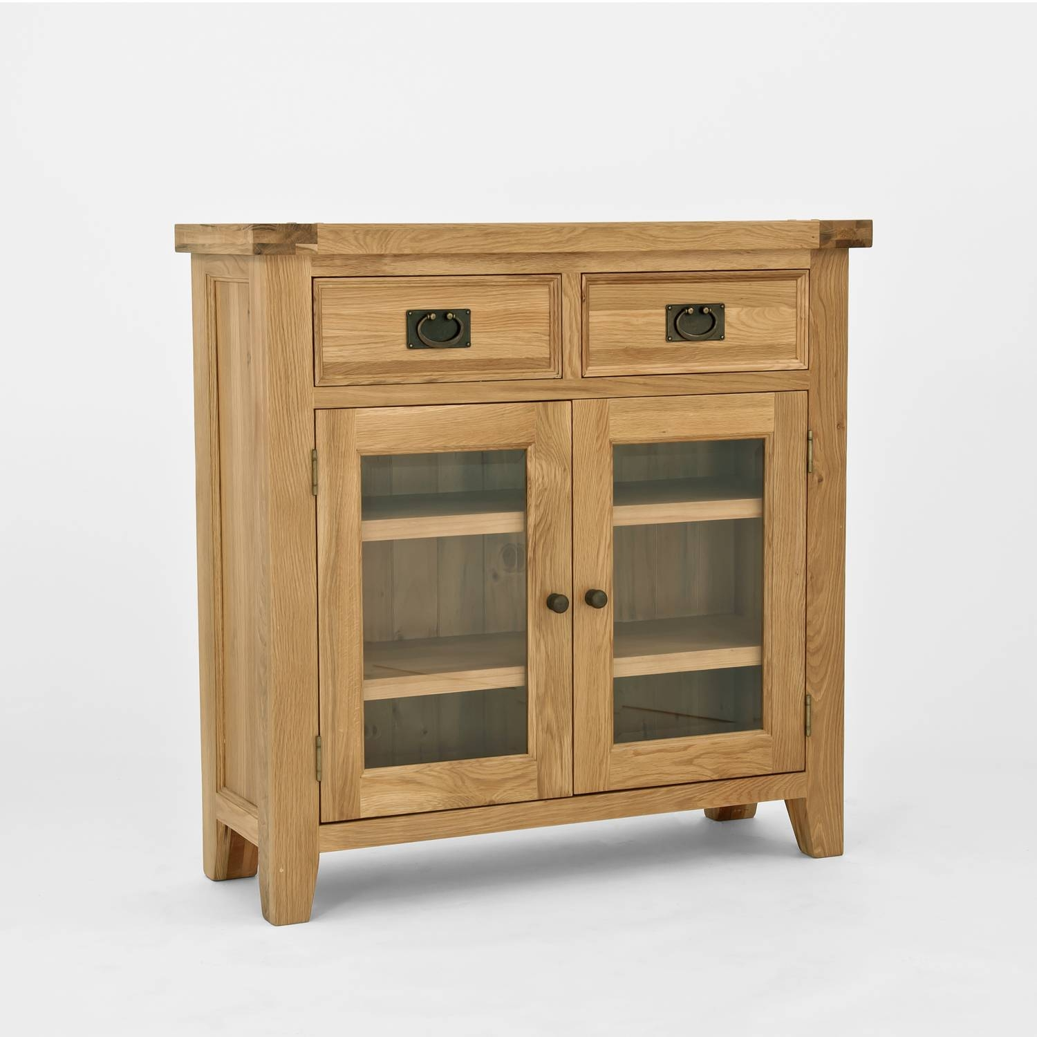 Chiltern Oak Small Sideboard/bookcase With Glass Doors Pertaining To Small Sideboard Cabinets (#4 of 15)
