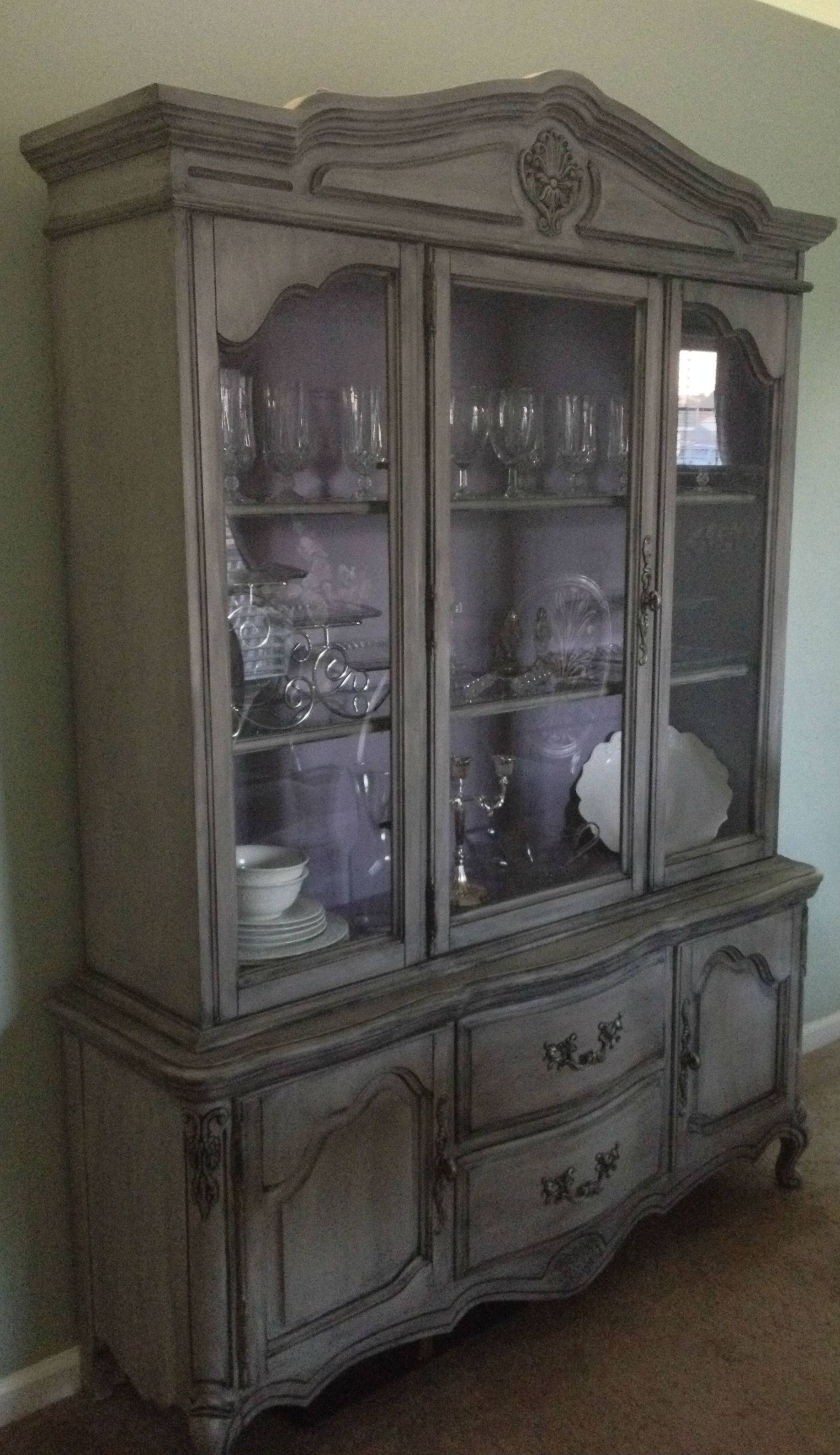 China Cabinet : Fascinatingk Distressed China Cabinet Pictures With Regard To Purple Sideboards (#4 of 15)