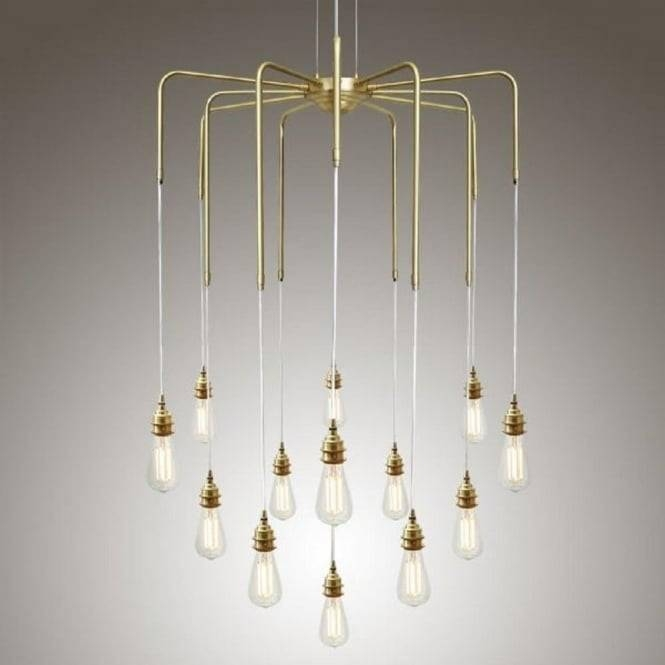 Cluster Of Bare Bulb Ceiling Pendant Lights Hanging On Gold Framework With Bare Bulb Cluster Pendants (View 10 of 15)