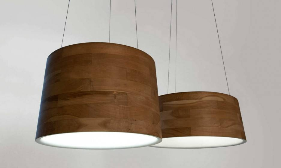 Contemporary Cronos Wooden Pendant Lights Drum Lampshade (#7 of 15)
