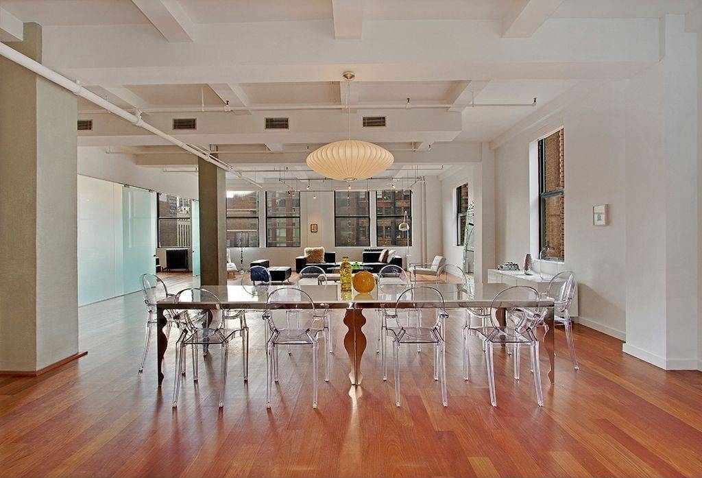 Contemporary Dining Room With Exposed Beamthe Corcoran Group Inside Most Popular George Nelson Saucer Pendants (#3 of 15)