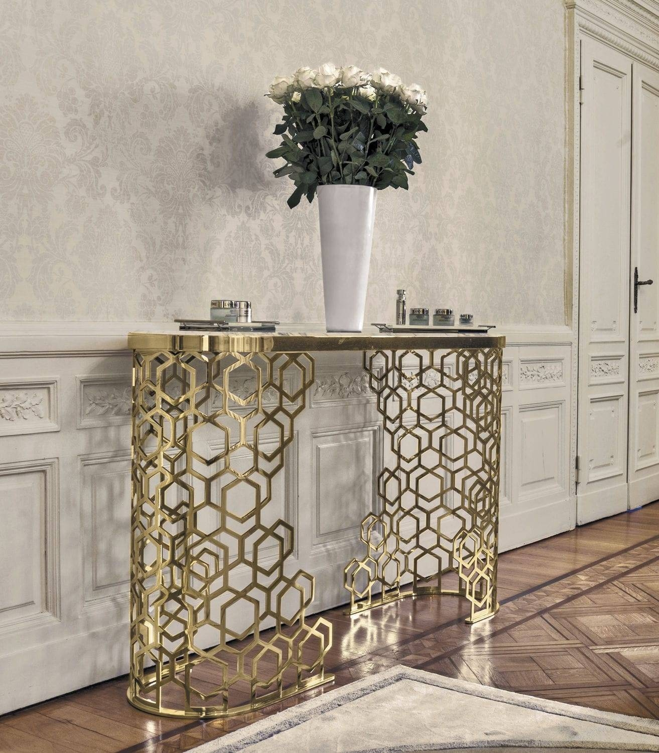 Contemporary Sideboard Table / Metal / Marble / Leather – Manfred Throughout Metal Sideboard Furniture (#4 of 15)