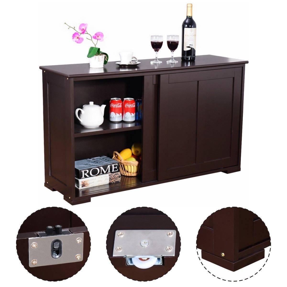 Costway Kitchen Storage Cabinet Sideboard Buffet Cupboard Wood In Dark Brown Sideboards (#9 of 15)