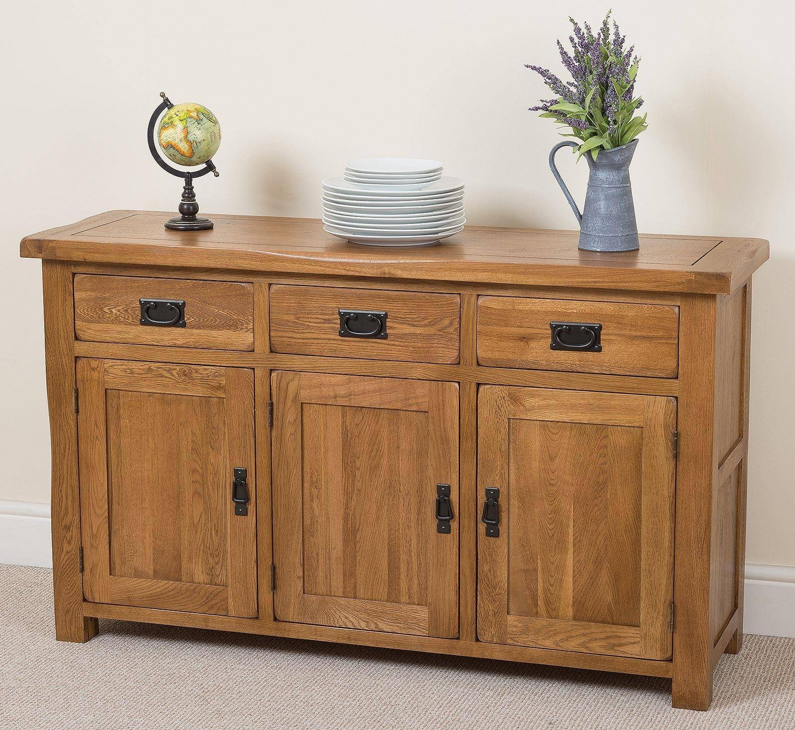 Cotswold Rustic Solid Oak Large Sideboard | Oak Furniture King Regarding Large Oak Sideboards (#4 of 15)