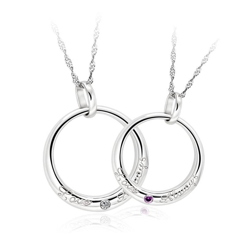 Couples 925 Sterling Silver Necklaces Pendants Matching Set Gift Intended For Newest Valentine Pendants (#10 of 15)